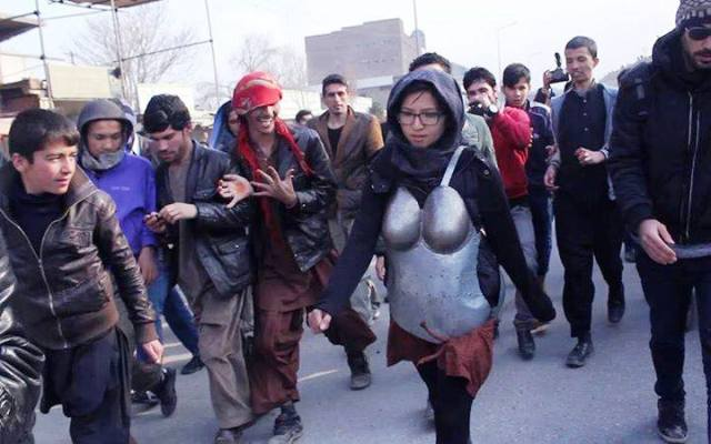 Symbolic demostration by Afghan girl in Kabul