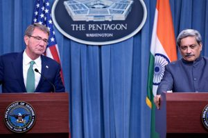 India and us signed military logistics agreement the khaama press us secretary of defense ash carter welcomes indias minister of defence manohar parrikar to the pentagon platinumwayz
